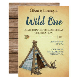 Tribal Teepee Wild One First Birthday Invitation
