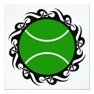 "tribal tennis ball 5.25"" square invitation card"