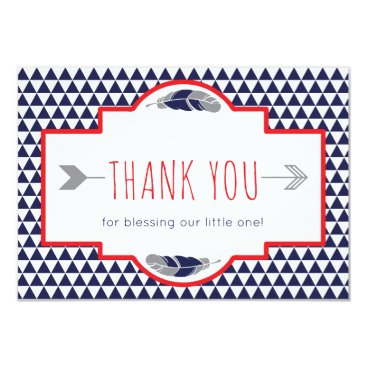 Aztec Themed Tribal Thank You Card, Boho, Navy, Red, Gray Card