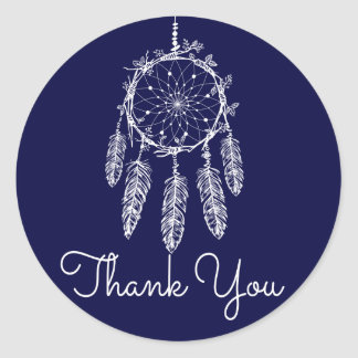 Tribal Thank You Dream Catcher Navy Blue Classic Round Sticker