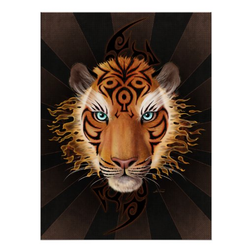 Tribal Tiger Face Poster