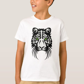 Tribal Tiger Tattoo Black White T-Shirt