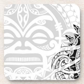 Tribal tiki totem face mask tatoo design Polynesia Drink Coaster