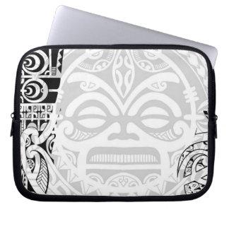 Tribal tiki totem face mask tatoo design Polynesia Laptop Sleeve