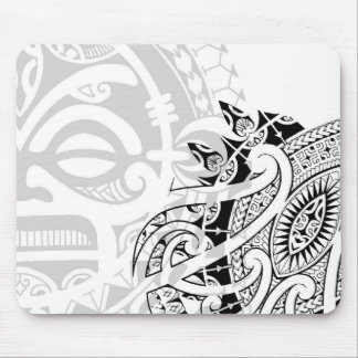 Tribal tiki totem face mask tatoo design Polynesia Mouse Pad