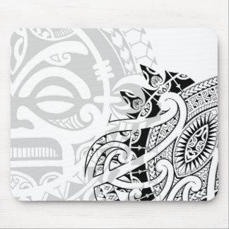Tribal tiki totem face mask tatoo design Polynesia Mouse Pad
