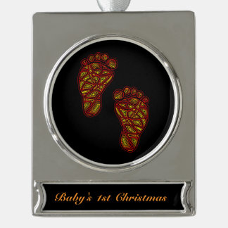 Tribal Toes Baby's 1st Christmas Silver Plated Banner Ornament