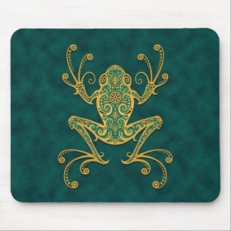 Tribal Tree Frog (blue & yellow) Mouse Pad