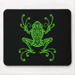 Tribal Tree Frog (green & black) Mouse Pad