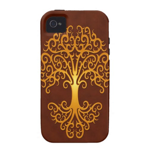 Tribal Tree, Golden Red Vibe iPhone 4 Cases