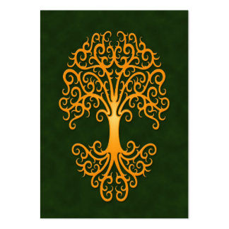 Tribal Tree of Life Golden Green Large Business Card
