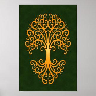 Tribal Tree of Life Golden Green Poster
