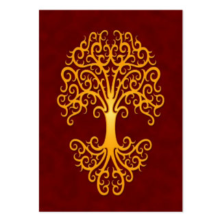 Tribal Tree of Life Golden Red Large Business Card