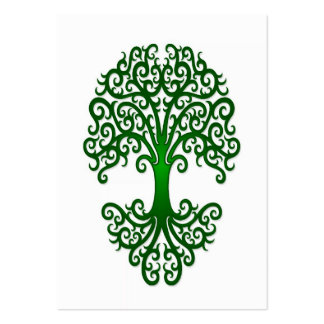 Tribal Tree of Life Green on White Large Business Card