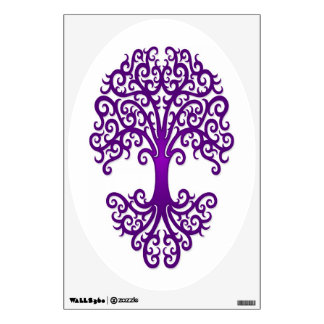 Tribal Tree of Life Purple on White Wall Sticker