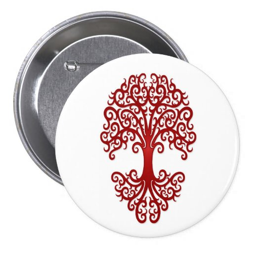 Tribal Tree of Life Red on White Pin
