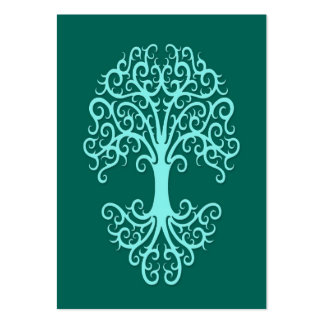 Tribal Tree of Life Teal Blue Large Business Card