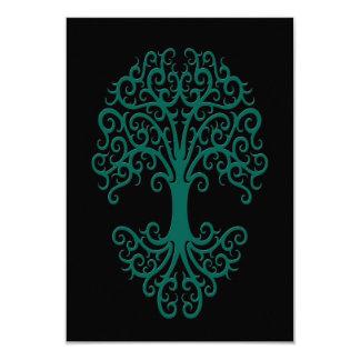 Tribal Tree of Life Teal Blue on Black Card
