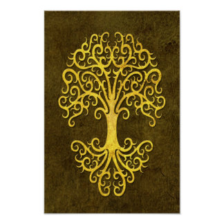 Tribal Tree of Life with Green Stone Effect Poster