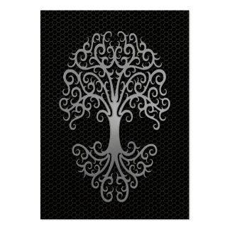 Tribal Tree of Life with Steel Mesh Effect Large Business Card