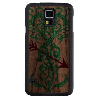 Tribal tree symbol with arrow cyan carved® walnut galaxy s5 case