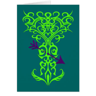 Tribal tree symbol with arrow green card