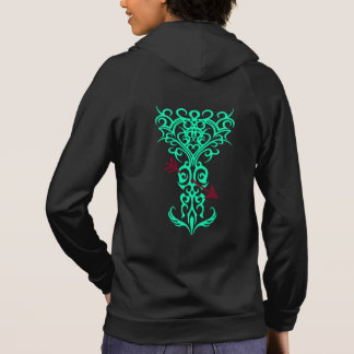 Tribal tree symbol with arrow green hoodie