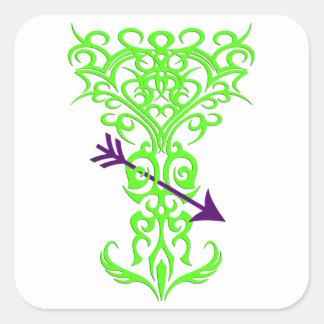 Tribal tree symbol with arrow green square sticker
