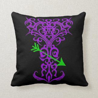 Tribal tree symbol with arrow purple throw pillow
