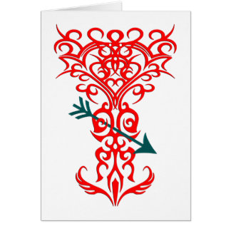 Tribal tree symbol with arrow red card