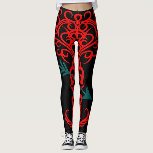 Tribal tree symbol with arrow red leggings