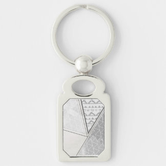 Tribal Triangle Pattern Grayscale Silver-Colored Rectangular Metal Keychain