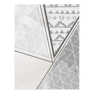 Tribal Triangle Pattern Grayscale Postcard