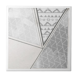 Tribal Triangle Pattern Grayscale Small Square Tile
