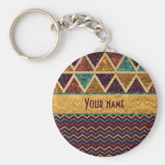 Tribal Triangles Chevrons Faux Glitter Foil Keychain