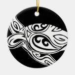 Tribal Turtle Ceramic Ornament