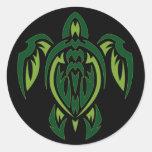Tribal Turtle Classic Round Sticker