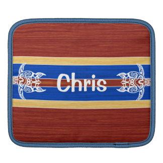 Tribal Turtle Fake Wood Surfboard iPad Sleeves