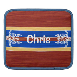 Tribal Turtle Fake Wood Surfboard Sleeve For iPads