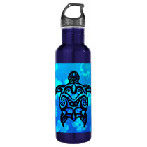 Tribal Turtle Hibiscus Water Bottle