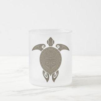 Tribal Turtle 10 Oz Frosted Glass Coffee Mug