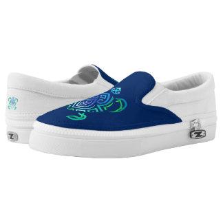 Tribal Turtle on Navy Slip-On Sneakers