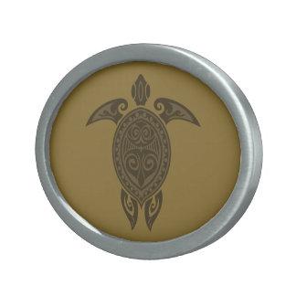 Tribal Turtle Oval Belt Buckle