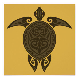 Tribal Turtle Póster