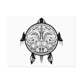 Tribal Turtle Shield Tattoo Canvas Print
