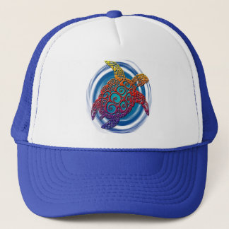 Tribal turtle swirl design trucker hat