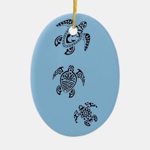 Tribal Turtle Trio Design Ceramic Ornament