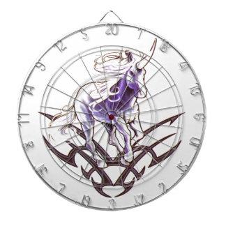 Tribal unicorn tattoo design dartboard with darts