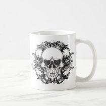 urban, tribal, skull, funny, vintage, cool, urban trend, fun, bones, skull mug, retro, skulls, slightly less humorous, old, skeleton, mug, Caneca com design gráfico personalizado