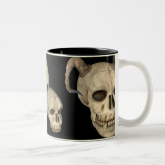 Tribal Vamp Skull Two-Tone Coffee Mug